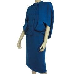 1950s Pauline Trigere Bubble Caplet Skirt Suit in Lapis Blue