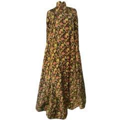 Geoffrey Beene Matelassé Floral Print Silk Opera Coat