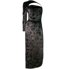 Geoffrey Beene Panne Velvet Asymmetrical Gown w/ Quilted Harness