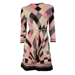 1960s Emilio Pucci Silk Jersey Op-Art Print Mini Dress w/ Belt
