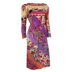 1960s Emilio Pucci Silk Jersey Psychedelic Print Dress in Pink, Purple and Black