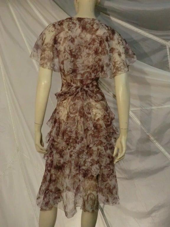 1920s Floral Print Silk Chiffon Flutter Tea Dress 3
