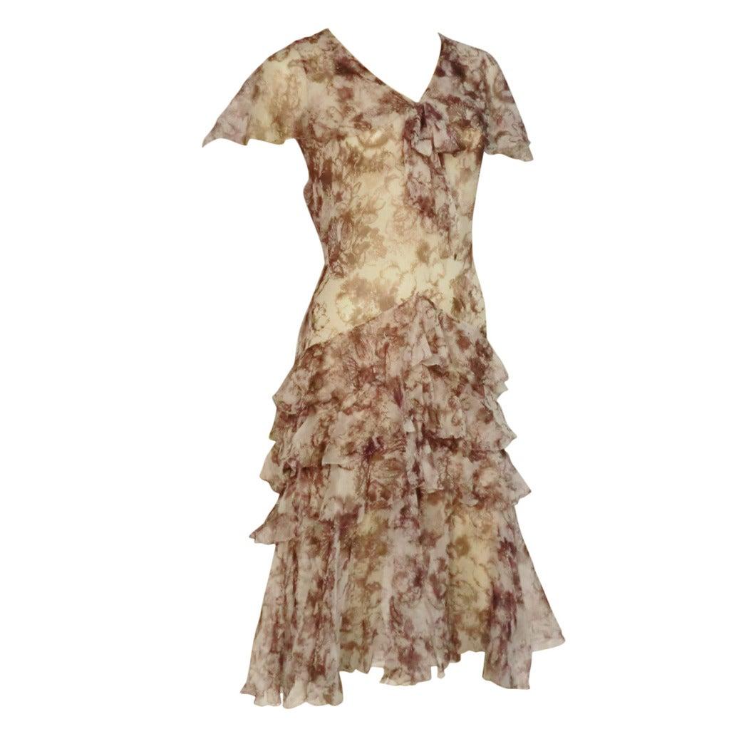 1920s Floral Print Silk Chiffon Flutter Tea Dress 1