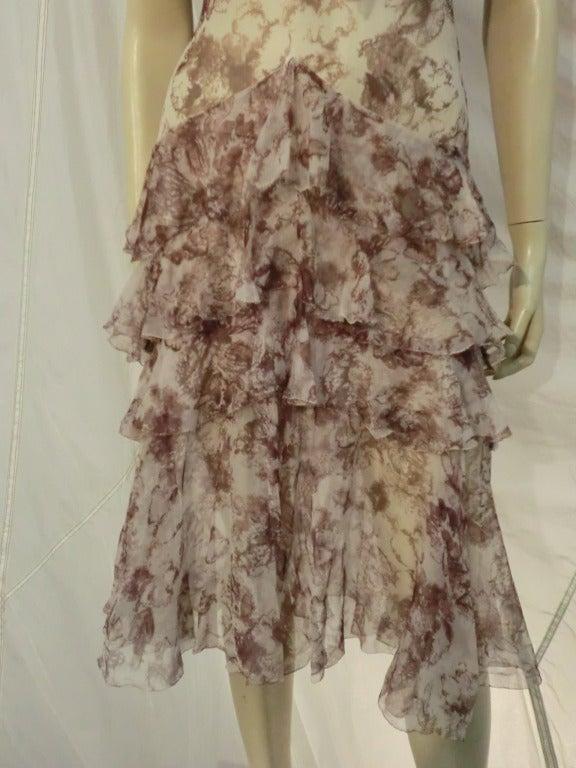 1920s Floral Print Silk Chiffon Flutter Tea Dress 4