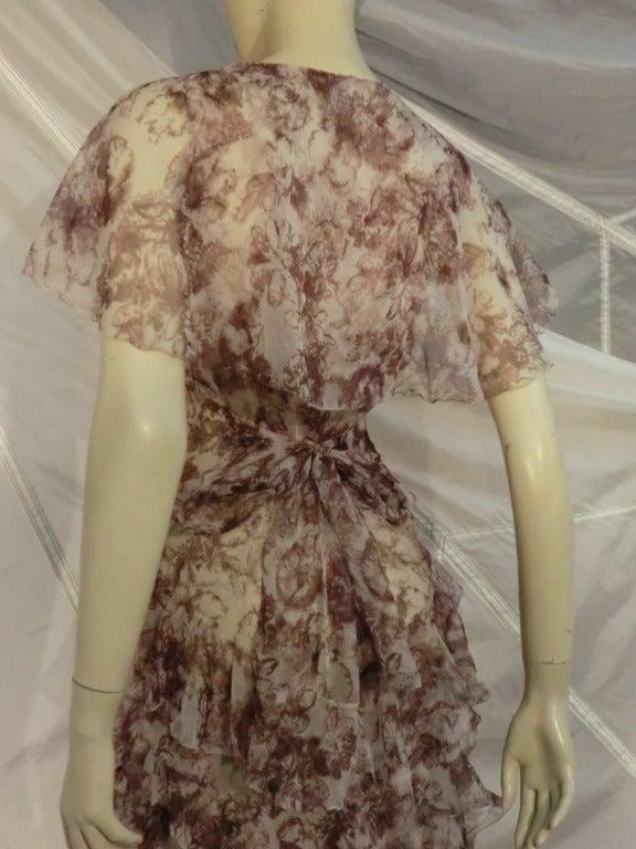 1920s Floral Print Silk Chiffon Flutter Tea Dress 5