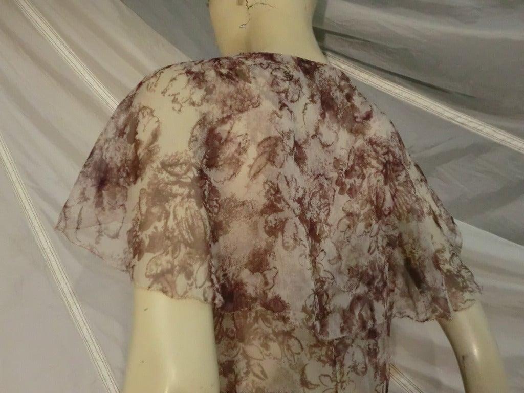 1920s Floral Print Silk Chiffon Flutter Tea Dress 6
