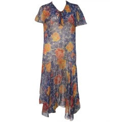 1920s Silk Chiffon Floral Print Dropped Waist Flutter Sleeve Tea Dress