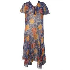 1920s Silk Chiffon Floral Print Dropped Waist Flutter Sleeve Tea Dress