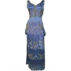 1950s Christian Dior Ice Blue Silk Satin Bustle-Back Beaded Gown
