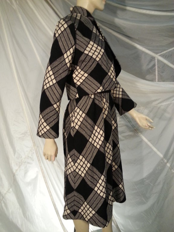 1960s Pauline Trigere Plaid Wool Dress and Jacket 2