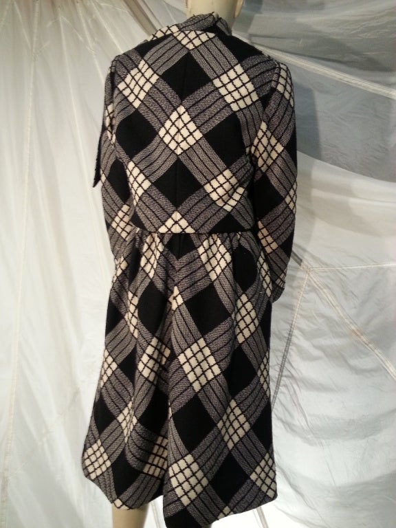 1960s Pauline Trigere Plaid Wool Dress and Jacket 3