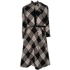 1960s Pauline Trigere Plaid Wool Dress and Jacket