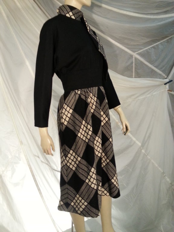 1960s Pauline Trigere Plaid Wool Dress and Jacket 7