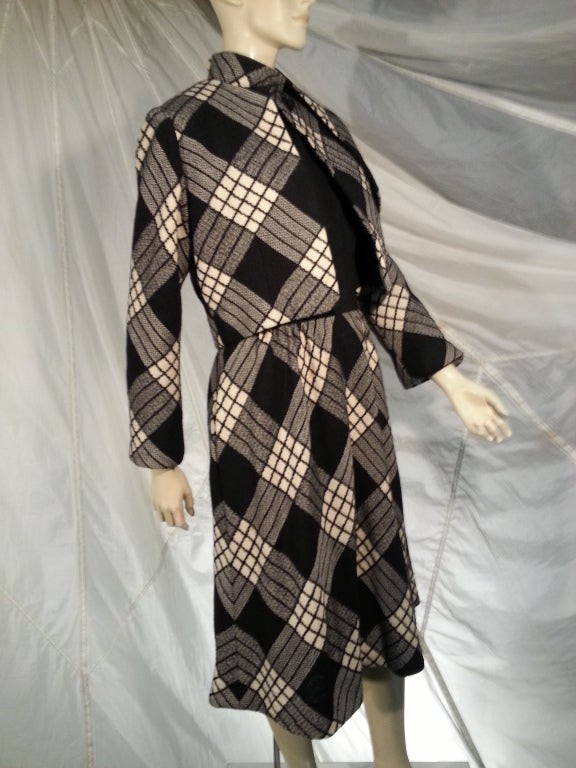 1960s Pauline Trigere Plaid Wool Dress and Jacket 8