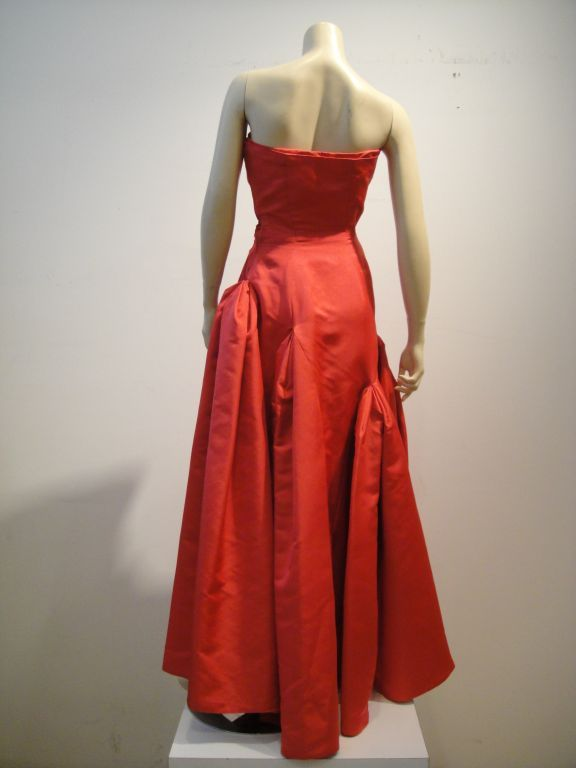Red Pauline Trigere 1950s Vivid Pink Strapless Gown For Sale