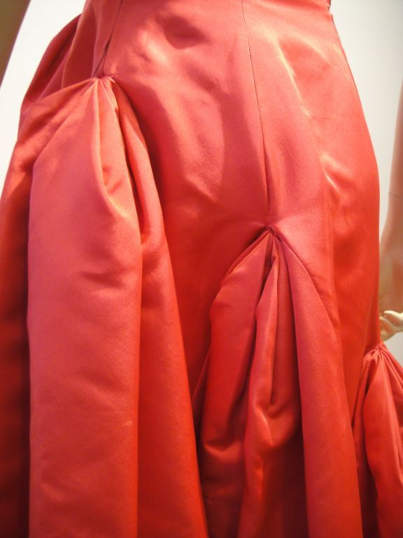 Pauline Trigere 1950s Vivid Pink Strapless Gown In Excellent Condition For Sale In San Francisco, CA