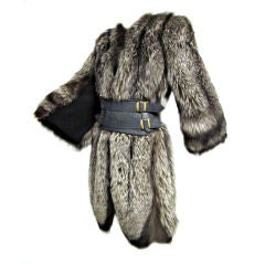 Luxurious 40s Silver-Tipped Fox Fur Coat with Scalloped Hem