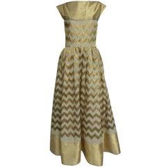 Arnold Scaasi 60s Chevron Silk Stripe Lamé Gown