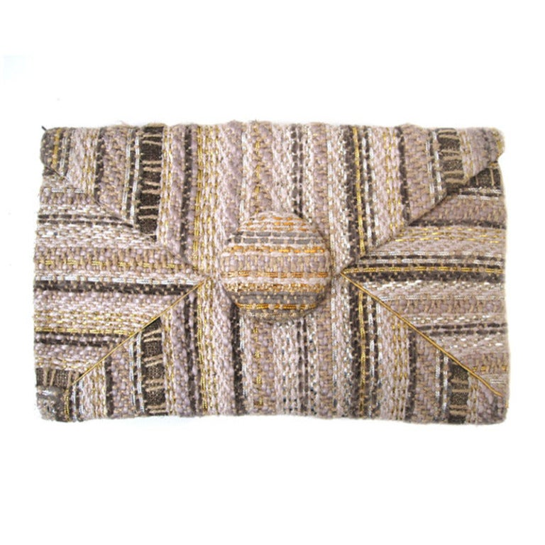 Harry Rosenfeld 40s Clutch in Beautiful Tweed and Gold Leather
