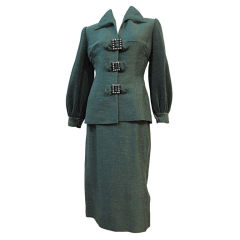 Lilli Ann 40s Silk Skirt Suit w/ Micro-Pleated Sleeves!