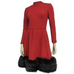Pauline Trigere 60s Red Wool Dress w/ Back Buttons and Fox Hem