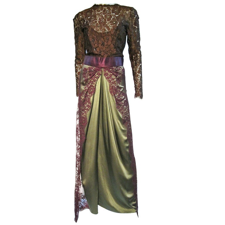 Bill Blass 70s Silk Chantilly Lace Sarong Gown For Sale