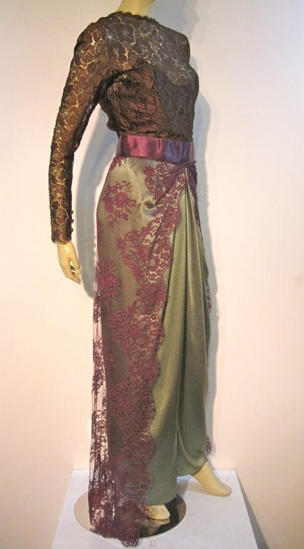 Stunning Bill Blass 70s sarong gown in silk Chantilly lace and satin. In a gorgeous color palette of imported fabrics: sage green, aubergine and mocha brown. Size 6-8