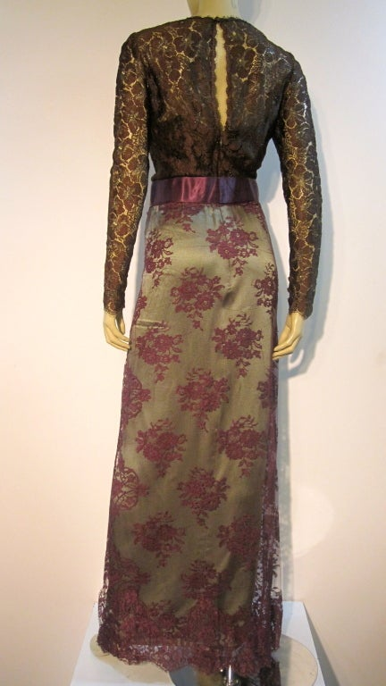 Brown Bill Blass 70s Silk Chantilly Lace Sarong Gown For Sale