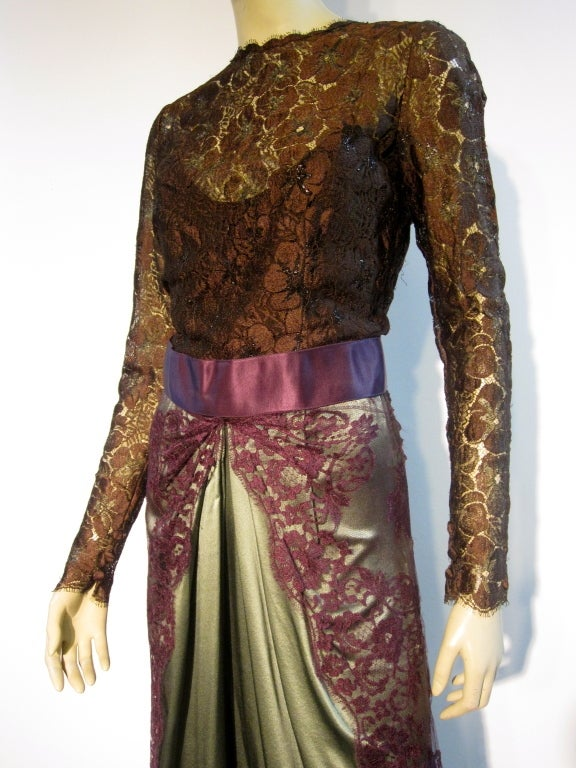 Bill Blass 70s Silk Chantilly Lace Sarong Gown In Excellent Condition For Sale In San Francisco, CA