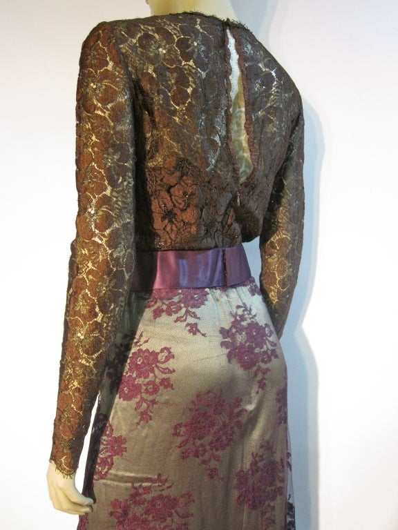 Women's Bill Blass 70s Silk Chantilly Lace Sarong Gown For Sale