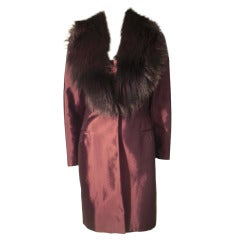 1990s Pamela Dennis Strapless Dress and Fur-Collared Jacket in Sharkskin