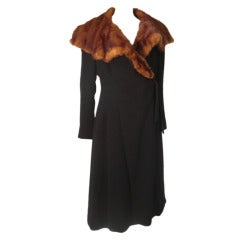 "1930s ""Fit and Flare"" Boucle Wool Wrap Coat w/ Extravagant Mink Collar"