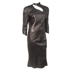 1980s Thierry Mugler Sculpted Leather Dress w/ Cutout