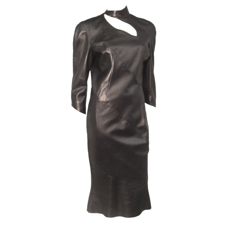 1980s Thierry Mugler Sculpted Leather Dress w/ Cutout For Sale