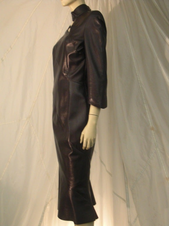 1980s Thierry Mugler Sculpted Leather Dress w/ Cutout 3