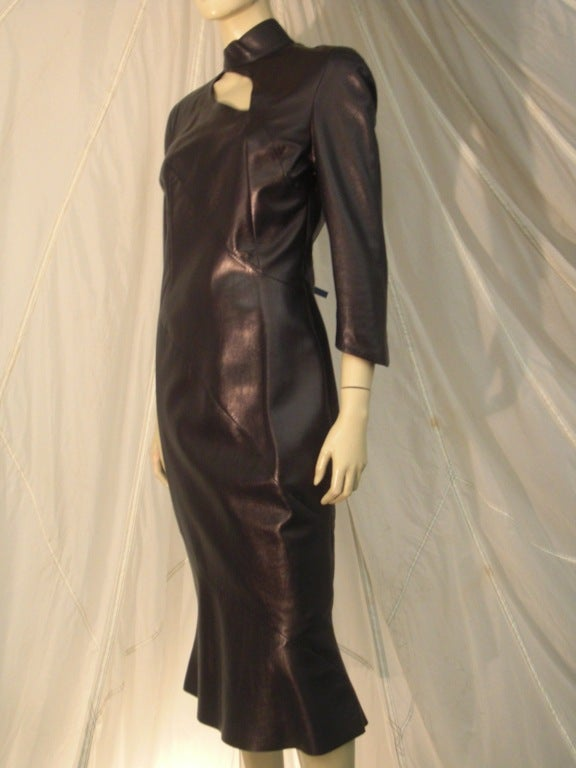 Women's 1980s Thierry Mugler Sculpted Leather Dress w/ Cutout For Sale