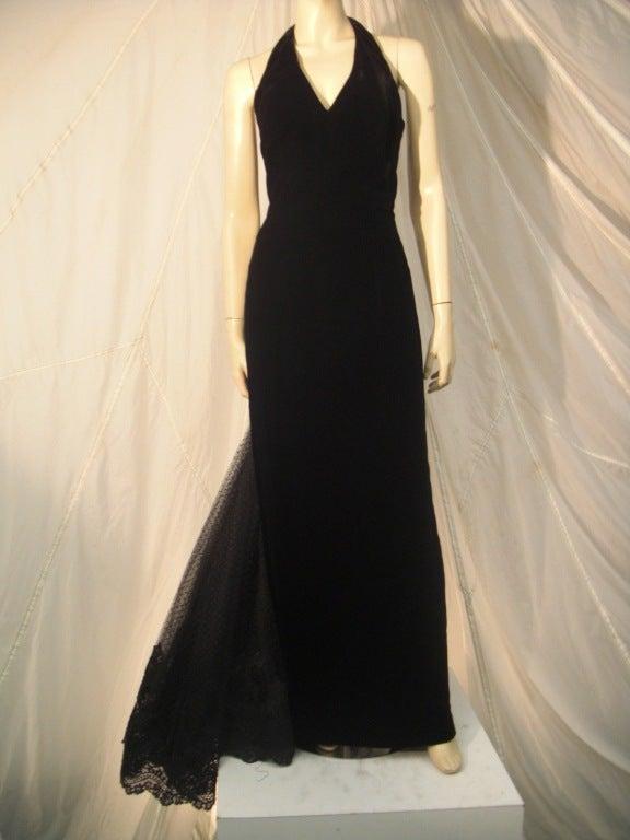 Early 1990s Lorcan Mullany Fishtail Halter Velvet Ball Gown for ...