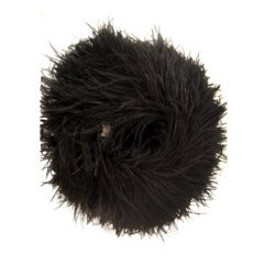 1950s Extravagant Black Ostrich Feather Muff w/ Zippered Pocket