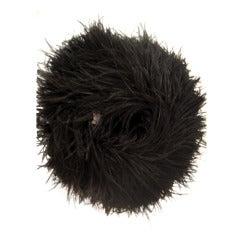 1950s Extravagant Black Ostrich Feather Muff w/ Zippered Pocket