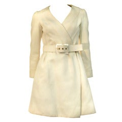 1960s James Galanos Silk Faille Wrap Coat Dress w/ Belt