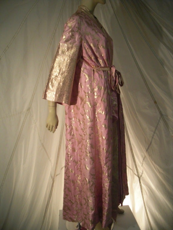 "An exquisite ""Maharani"" brand Indian sari cloth silk and metal brocade robe in pink and gold.  Handwoven with a ""front only"" sash belt.  