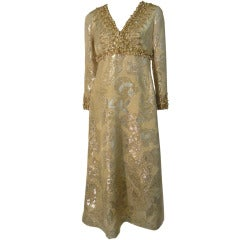 Marty Modell Beaded Brocade Empire Princess Dress