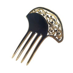 1920s Art Deco Celluloid Comb with Cut-Outs and Black Stones