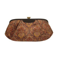 1950s La France Paisley Velvet and Leather Clutch