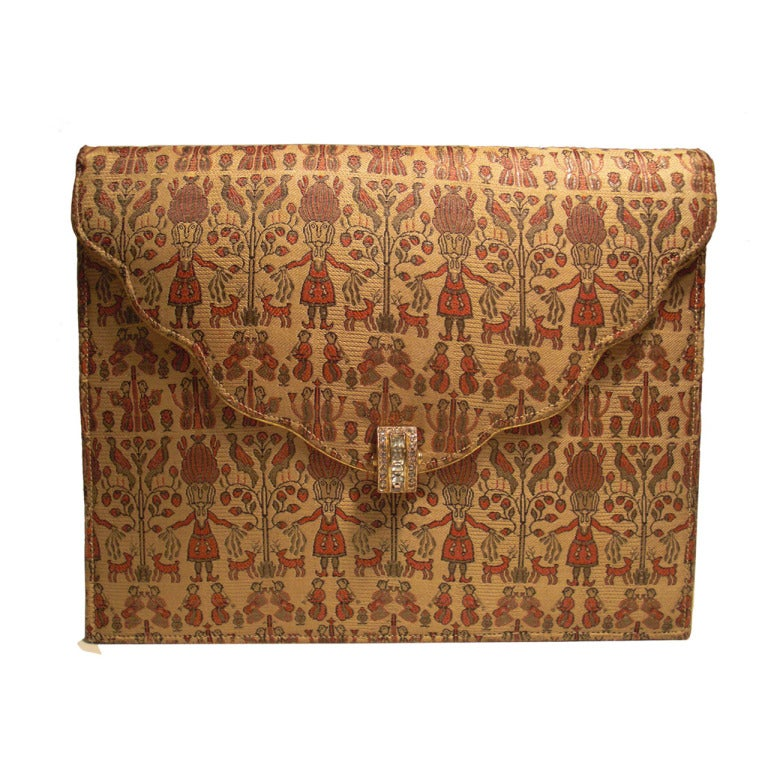 1930s Figural Silk Brocade Clutch with Rhinestone Clasp and Gold Piping 1