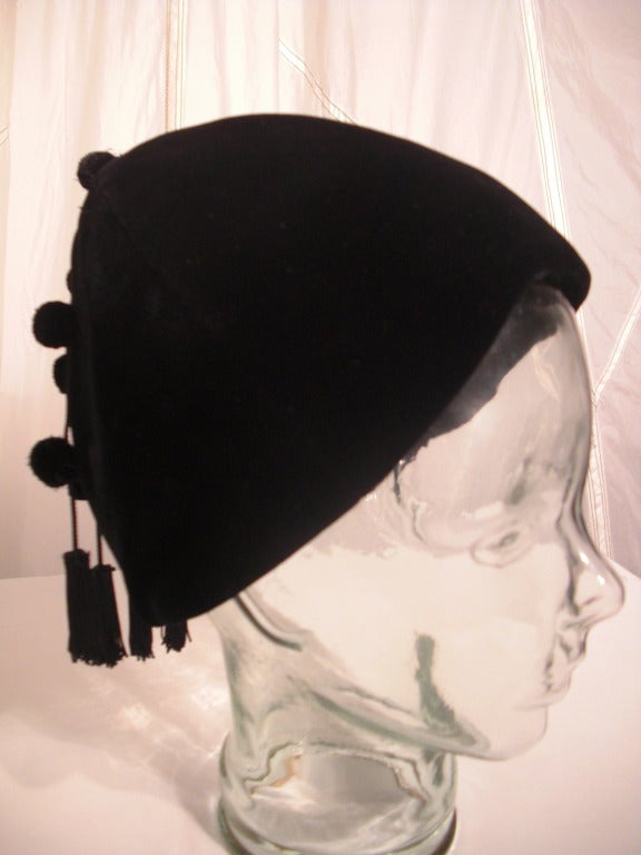 1950s I. Magnin Velvet Pixie Hat with Adorable Pompons and Tassels 2