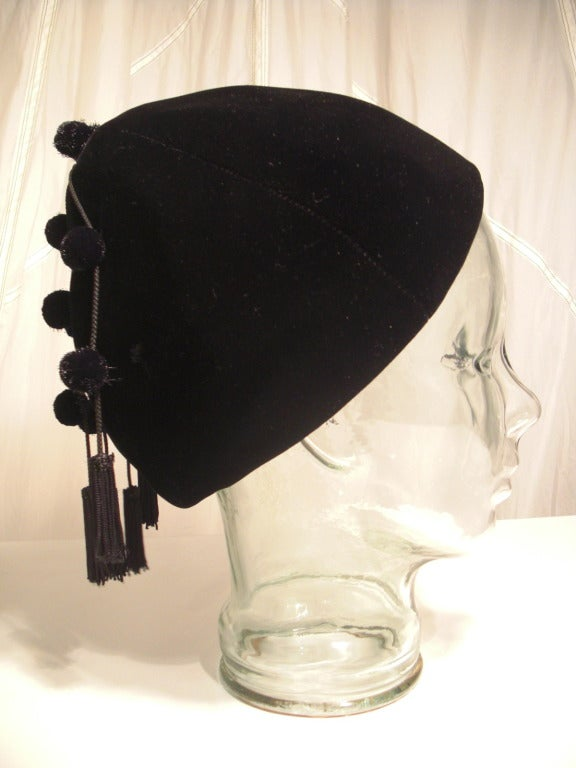 1950s I. Magnin Velvet Pixie Hat with Adorable Pompons and Tassels 3