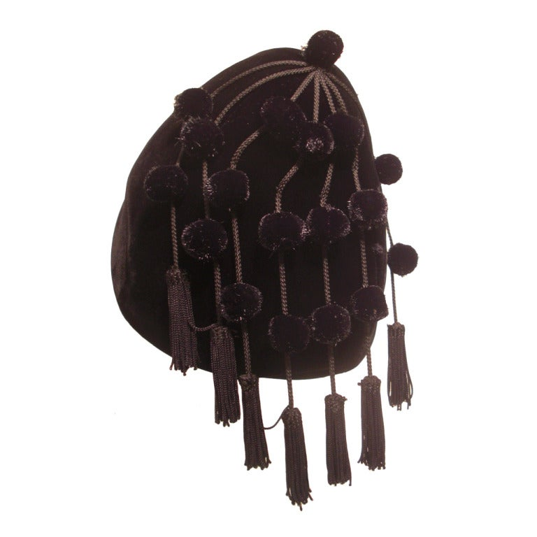 1950s I. Magnin Velvet Pixie Hat with Adorable Pompons and Tassels 1