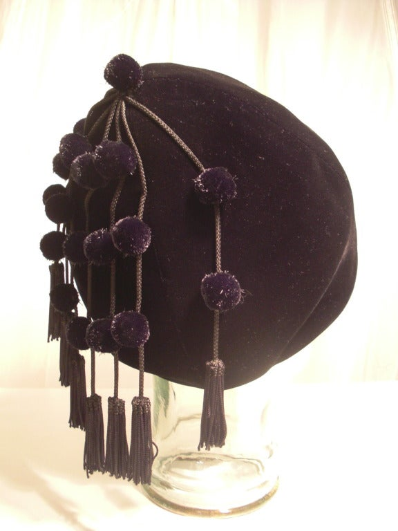 1950s I. Magnin Velvet Pixie Hat with Adorable Pompons and Tassels 4