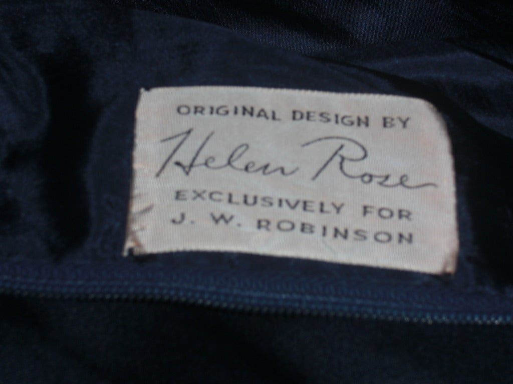 1950s Helen Rose Navy Charmeuse Tailored Day Dress At 1stdibs